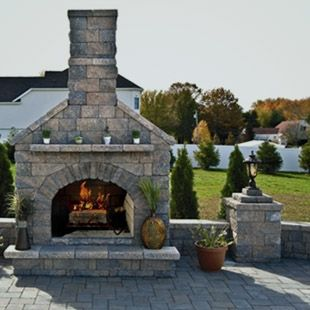 fireplace made with pavers