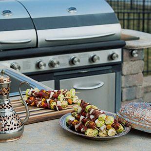 kabobs on a outdoor kitchen