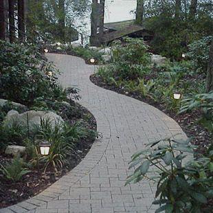 lit paver pathway