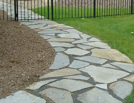 Flagstone walkway gallery green acre sod tulsa sod farm Natural stone walkways
