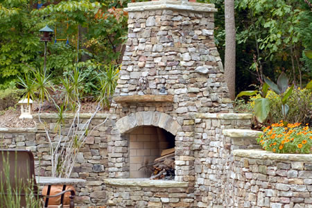 Natural stone fireplace gallery green acre sod tulsa for Buy stone for fireplace