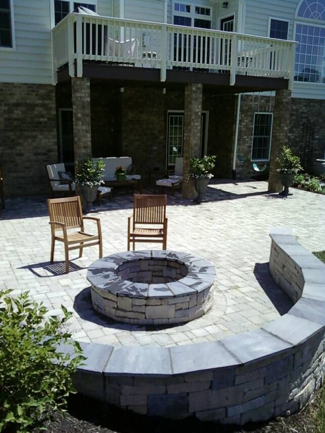 Flag Stone Patio With Fire Pit